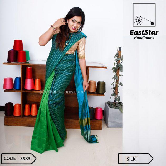 Code #3983 Handloom Silk  Saree