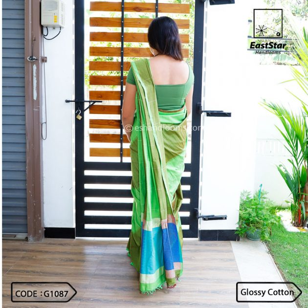 Code #G1087 Handloom Glossy Cotton Saree