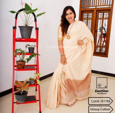 Code #G1102 Handloom Glossy Cotton Saree