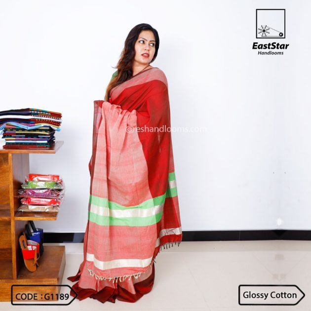 Code #G1189 Handloom Glossy Cotton Saree