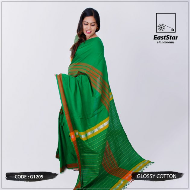 Code #G1205 Handloom Glossy Cotton Saree