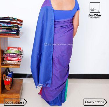 Code #G1263 Handloom Glossy Cotton Saree