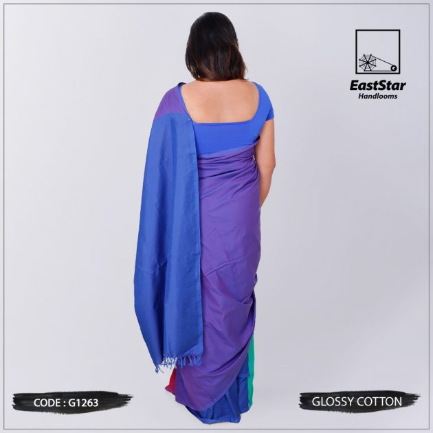 Code #G1263 Handloom Glossy Cotton Saree