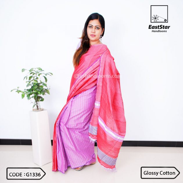 Code #G1336 Handloom Glossy Cotton Saree