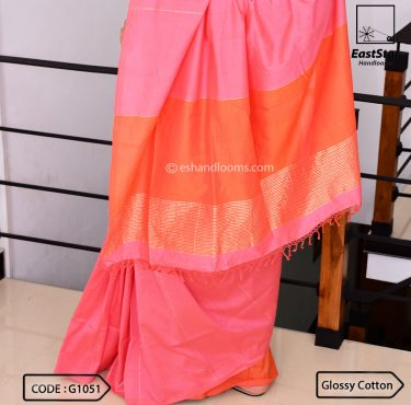 Code #G1051 Handloom Glossy Cotton Saree