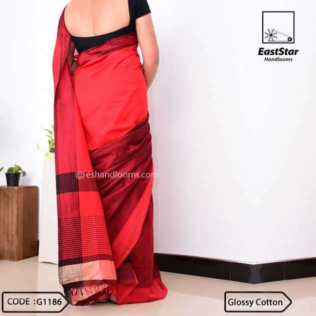 Code #G1186 Handloom Glossy Cotton Saree