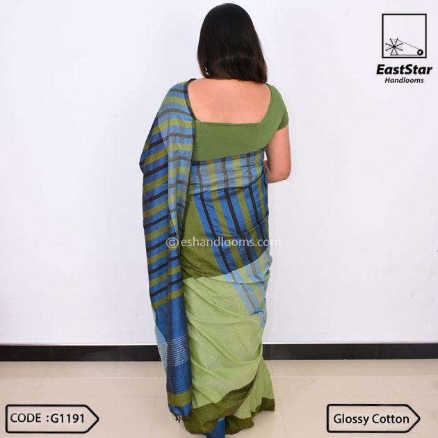 Code #G1191 Handloom Glossy Cotton Saree