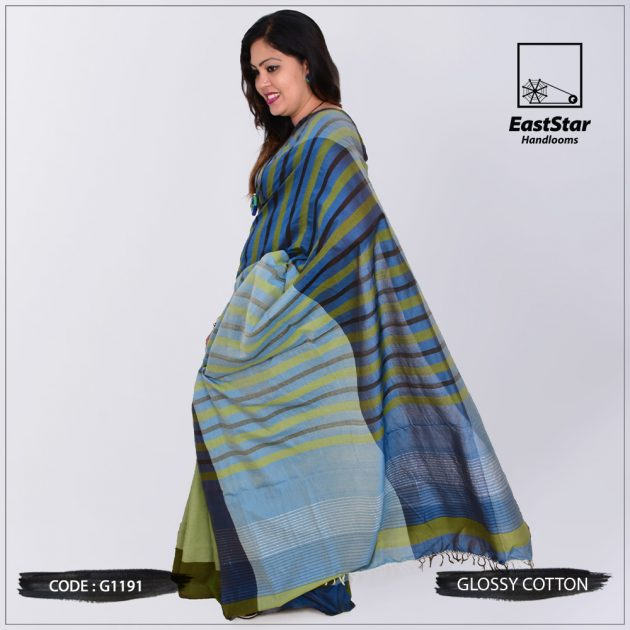 Code #G1191 Handloom Glossy Cotton Saree