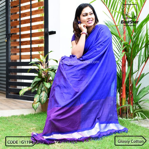 Code #G1194 Handloom Glossy Cotton Saree