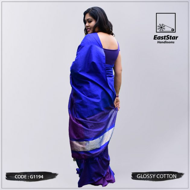 Code #G1194 Handloom Glossy Cotton Saree