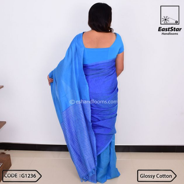 Code #G1236 Handloom Glossy Cotton Saree