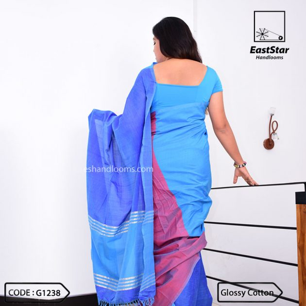 Code #G1238 Handloom Glossy Cotton Saree