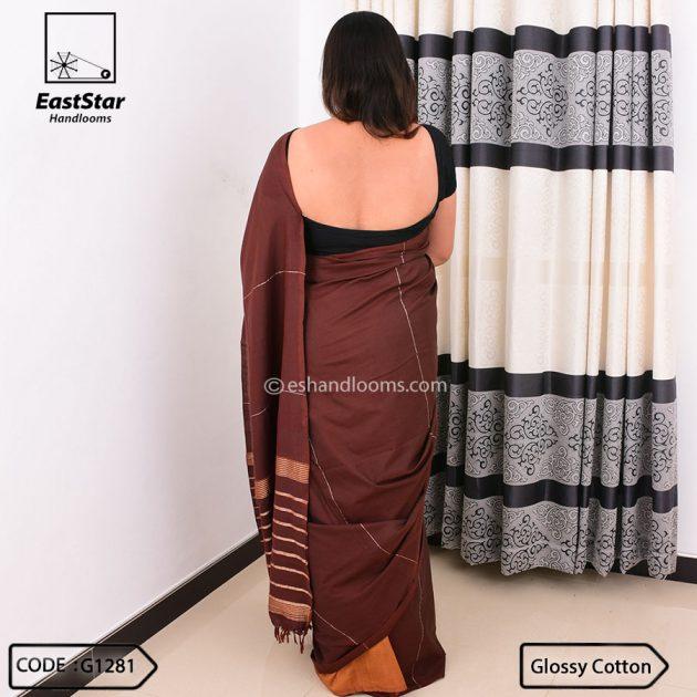 Code #G1281 Handloom Glossy Cotton Saree