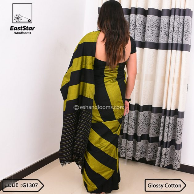 Code #G1307 Handloom Glossy Cotton Saree