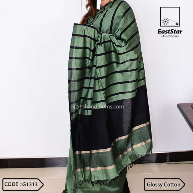 Code #G1313 Handloom Glossy Cotton Saree
