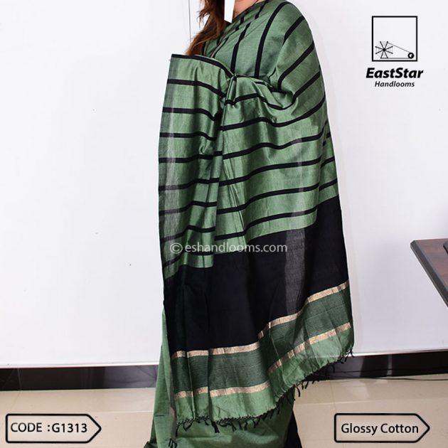 Code #G1313 Handloom Glossy Cotton Saree