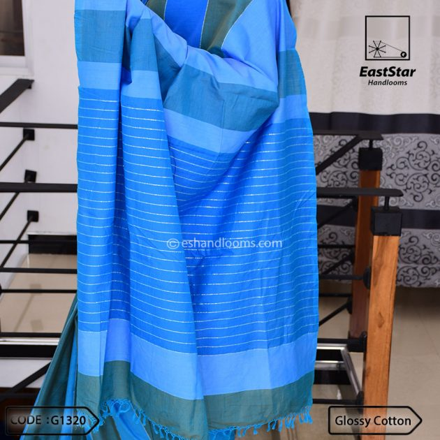 Code #G1320 Handloom Glossy Cotton Saree