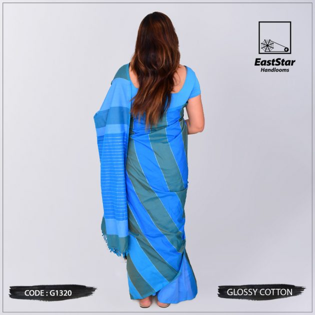 Code #G1320 Handloom Glossy Cotton Saree