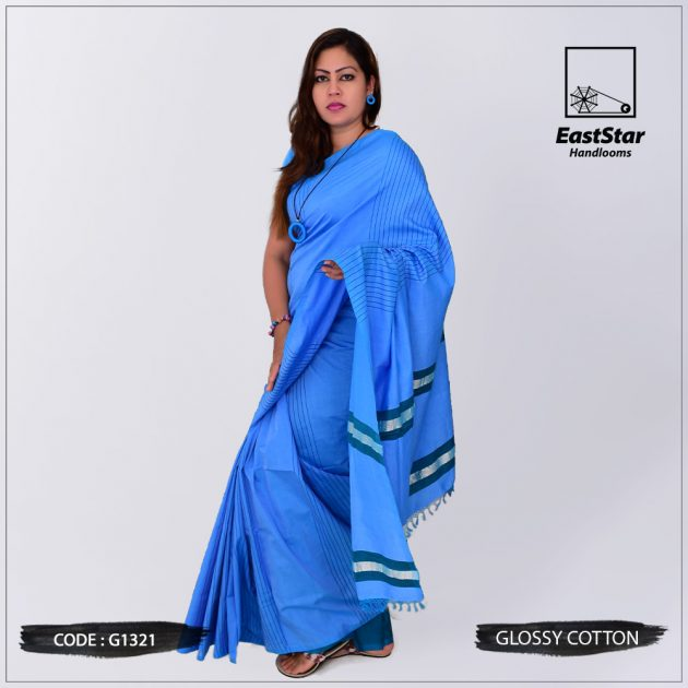 Code #G1321 Handloom Glossy Cotton Saree