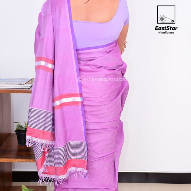 Code #G1331 Handloom Glossy Cotton Saree