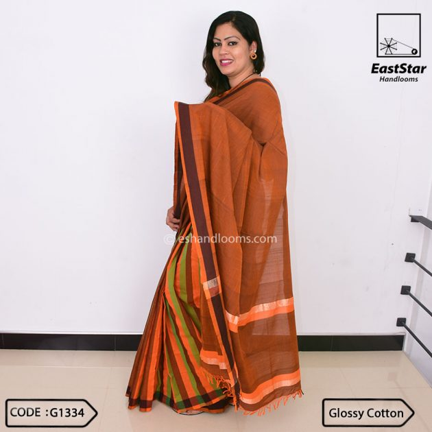 Code #G1334 Handloom Glossy Cotton Saree