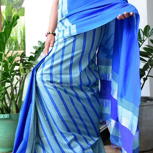 Code #G1342 Handloom Glossy Cotton Saree