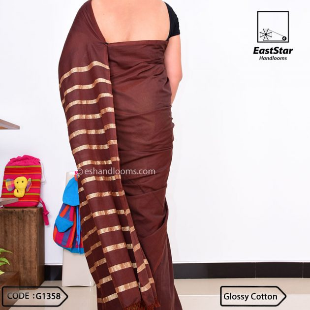 Code #G1358 Handloom Glossy Cotton Saree