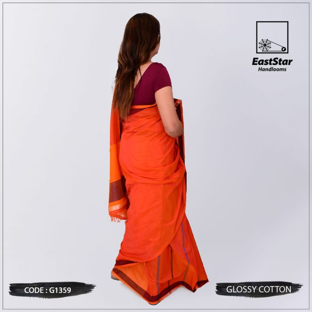 Code #G1359 Handloom Glossy Cotton Saree