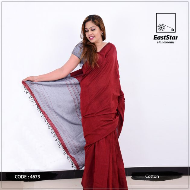 Code #4673 Handloom Cotton Saree