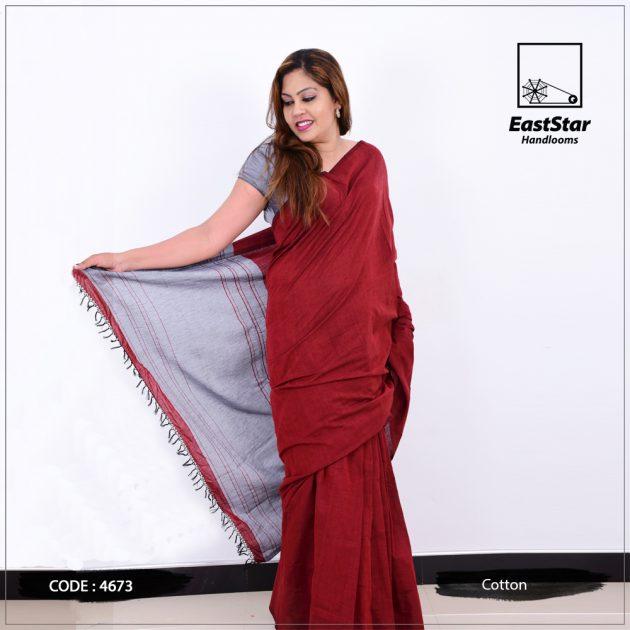 Code #4673 Handloom Cotton Saree