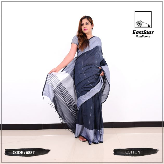 Code #6887 Handloom Cotton Saree