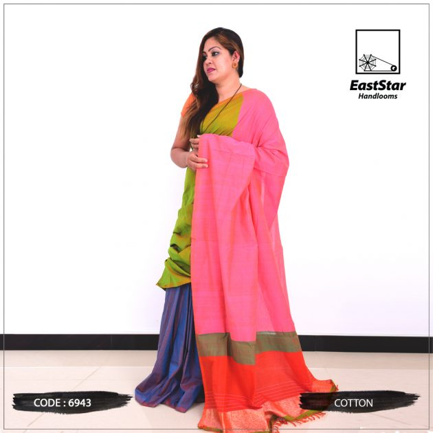 Code #6943 Handloom Cotton Saree