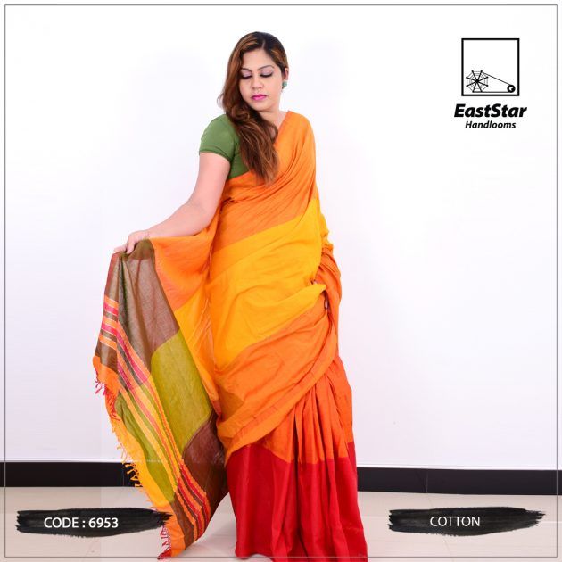 Code #6953 Handloom Cotton Saree