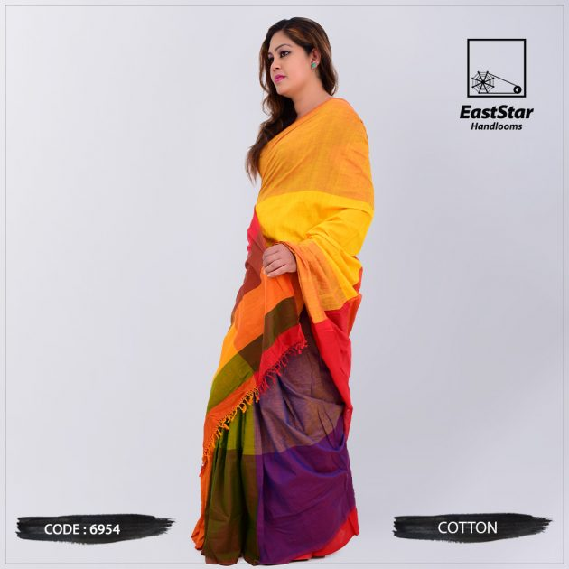 Code #6954 Handloom Cotton Saree