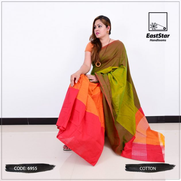 Code #6955 Handloom Cotton Saree