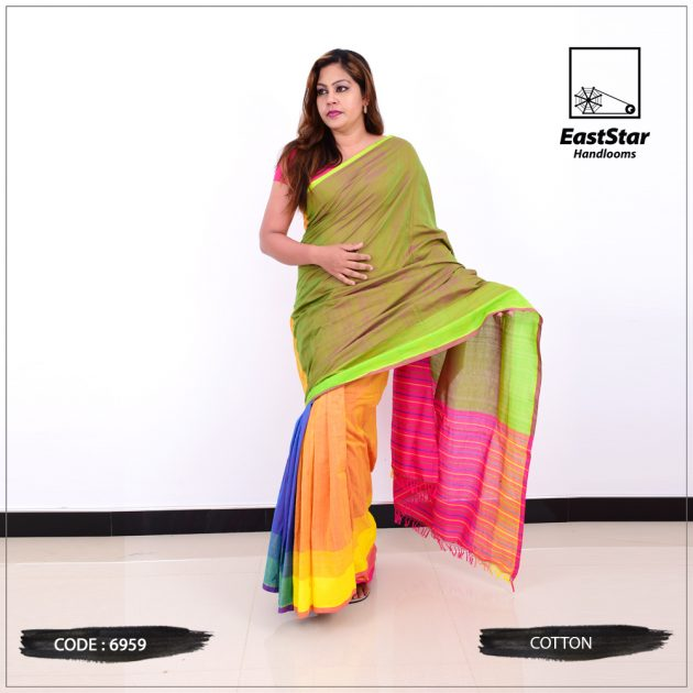 Code #6959 Handloom Cotton Saree