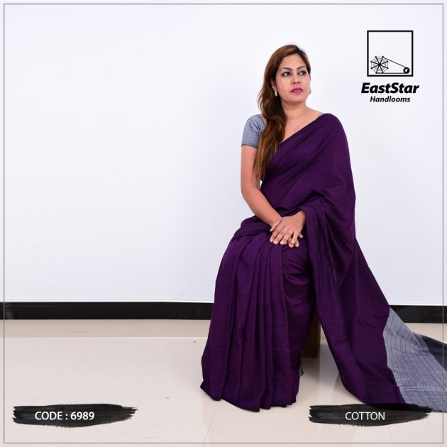 Code #6989 Handloom Cotton Saree