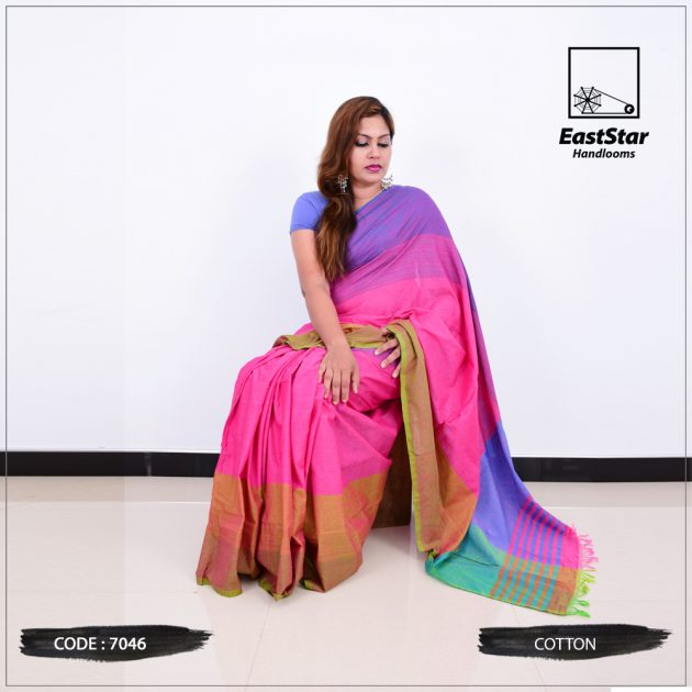 Code #7046 Handloom Cotton Saree