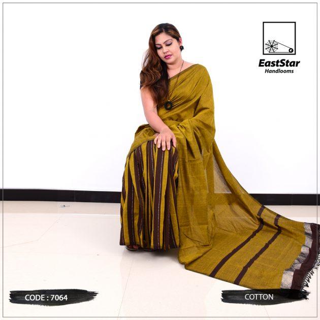 Code #7064 Handloom Cotton Saree