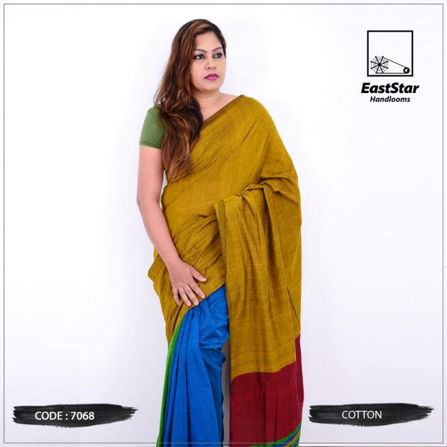 Code #7068 Handloom Cotton Saree