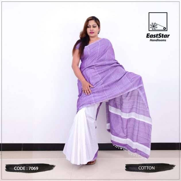 Code #7069 Handloom Cotton Saree