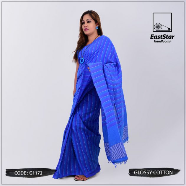 Code #G1172 Handloom Glossy Cotton Saree