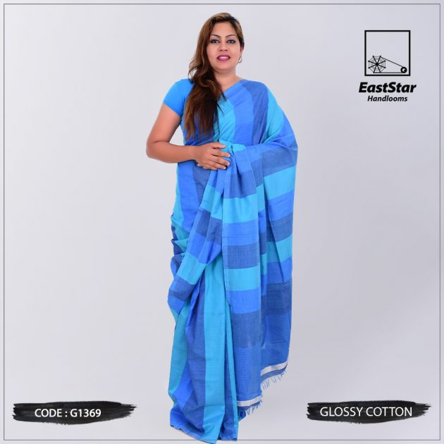 Code #G1369 Handloom Glossy Cotton Saree