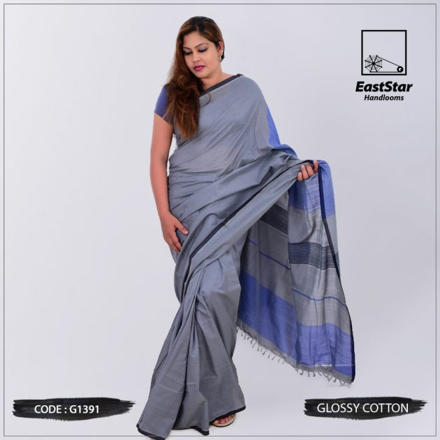 Code #G1391 Handloom Glossy Cotton Saree