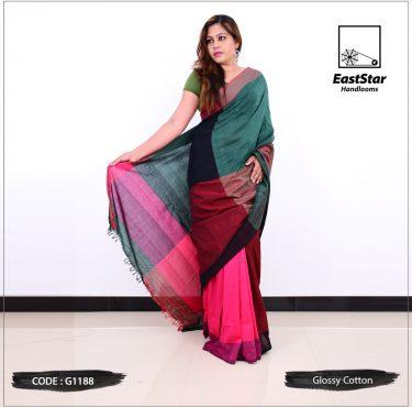 Code #G1188 Handloom Glossy Cotton Saree