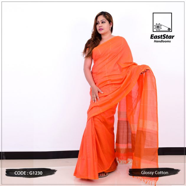 Code #G1230 Handloom Glossy Cotton Saree