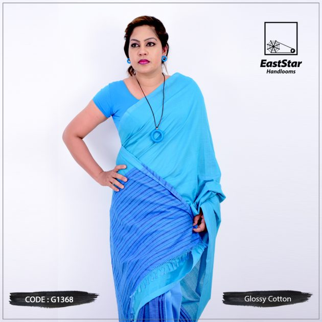 Code #G1368 Handloom Glossy Cotton Saree