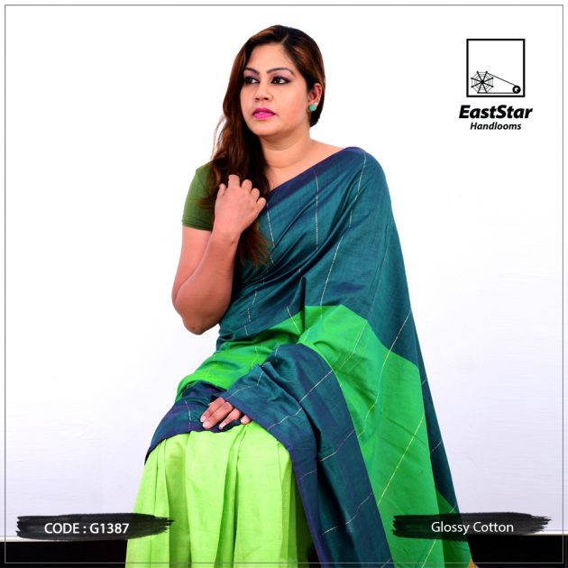 Code #G1387 Handloom Glossy Cotton Saree