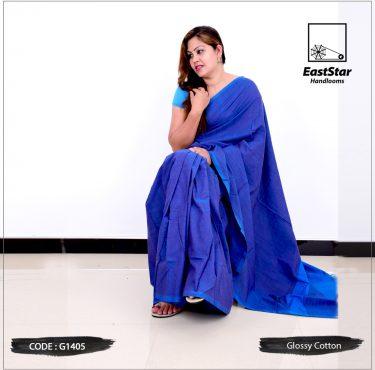 Code #G1405 Handloom Glossy Cotton Saree