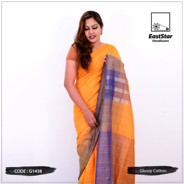 Code #G1438 Handloom Glossy Cotton Saree